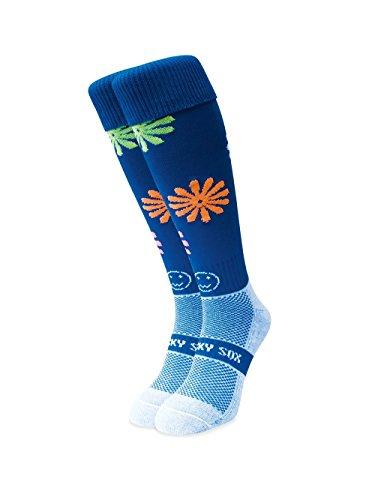WackySox Lazy Daisy Royal Blue Sport-Socken Adult Shoe Size 7-11