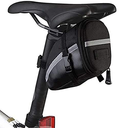 FSJD Bolsa de Almacenamiento para sillín de Bicicleta de 1,2 l, Bolsa de sillín para Bicicleta de montaña, Bolsillo para Herramientas de reparación de Bicicletas, Negro, 15 cm × 7,5 cm × 10,5 cm