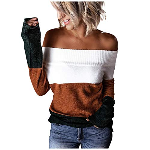 Meikosks Strapless Long Sleeves Tops Womens Off Shoulder Sweater Stripes Patchwork Pullover Brown