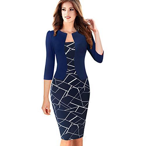 IHCIAIX Kleid,Nizza-für Immer einteiliges kurzes Elegantes Muster-Arbeitskleid, weibliches 3/4 oder vollärmliges Etuikleid, Marine und Weiß, XL
