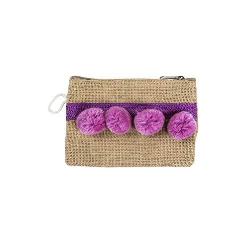 Bolso de arpillera con pompones morados pequeño