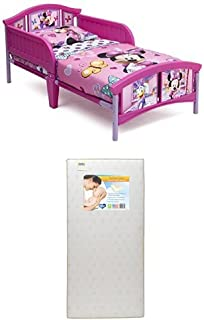 Delta Children Plastic Toddler Bed, Disney Minnie Mouse with Twinkle Stars Crib & Toddler Mattress