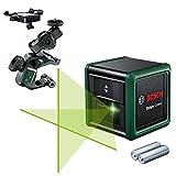 Bosch Quigo Láser de líneas cruzadas Green generación II con abrazadera universal MM 2, líneas láser horizontales y verticales, tecnología láser verde,alcance de hasta 12 metros,+/-0,6 mm/m, en caja