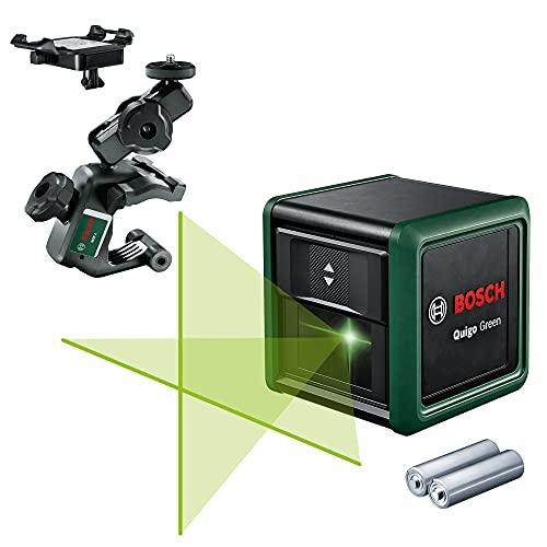Bosch 0603663C02 Cruzadas Quigo Green generación II con Abrazadera Universal MM 2 (líneas horizontales y Verticales, láser Verde, Alcance de hasta 12 m, precisión +/-0,6 mm/m, en Caja)