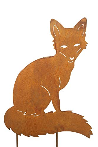 Fuchs, Gartenstecker; 40 cm; Metall, Rost; Rasendeko; Beetdeko; Standdeko