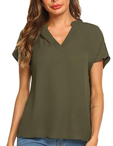 Parabler Damen T-Shirt Sommer Tops Chiffon Bluse Einfarbig Kurzarm Casual Blusen Tunika V-Ausschnitt