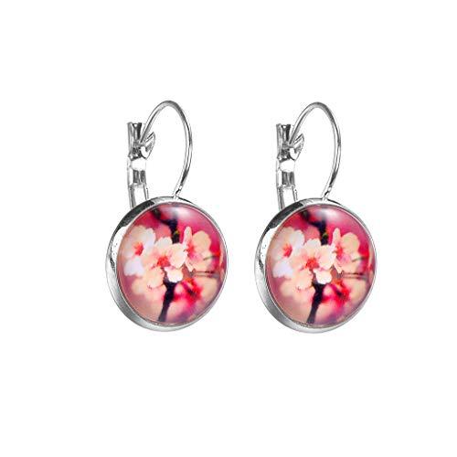 Lazzgirl Mode Silber minimalistischen Stil starry Serie Blume Glas Cabochon Ohrringe(D,One size)