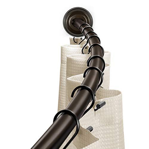 KAMANINA Curved Shower Curtain Rod 54-90 Inches, Extendable Rustproof Heavy-Duty Shower Curtain Rod for Bathroom, Premium Aluminum, Bronze