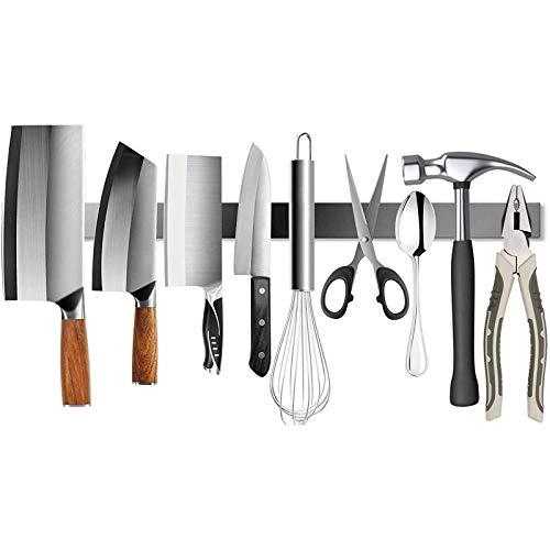 """AOUVIK Edelstahl-Magnetmesserhalter, 20\""""Home Kitchen Organizer, für Küchenmesser und Storiging-Magnetartikel - Silber"""