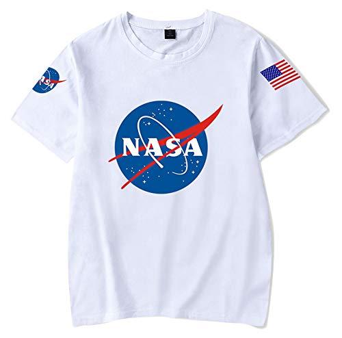 JOAYIN Hombre Mujer NASA Camiseta Impreso con Logo Clásico Espacio Creativo T-Shirt de Verano Unisexo Manga Corta en Color Liso con Letras