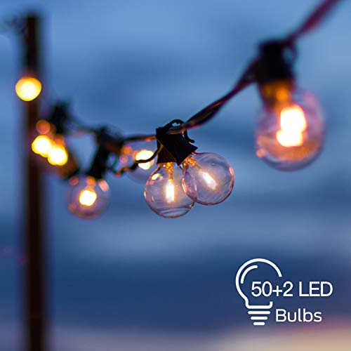 LED Outdoor String Lights with 52 Clear G40 Bulbs (2 Spare), 54 Ft Hanging Globe String Lights Connectable Waterproof for Indoor Bedroom Patio Garden Porch Wedding Party Christmas, 1W Bulb, Black Wire