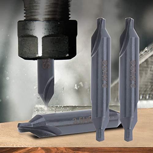 Taladro central de 10 piezas, broca central para procesamiento de acero y acero inoxidable, broca muy práctica HSS tipo A para posicionamiento en espiral en todo terreno de acero inoxidable de 3,5 mm