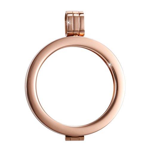 Sissi Jewelry Münzfassungen Edelstahlanhänger - Coinsfassung Anhänger Rotgold-Ton WK-001