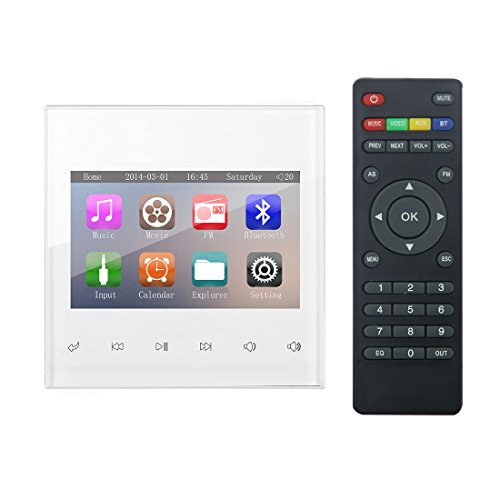 HELMER Bluetooth Amplifier, Home Stereo Audio System, 3' Video Player in Wall with Touch Key, White, BM200