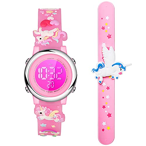 2 Pieces Unicorn Kids Watch and Silicone Wristband Cute 3D Cartoon Waterproof Toddler Wrist Digital Watch 7 Color Lights Watch with Alarm Stopwatch for 3-10 Year Girls (Lovely Pink)