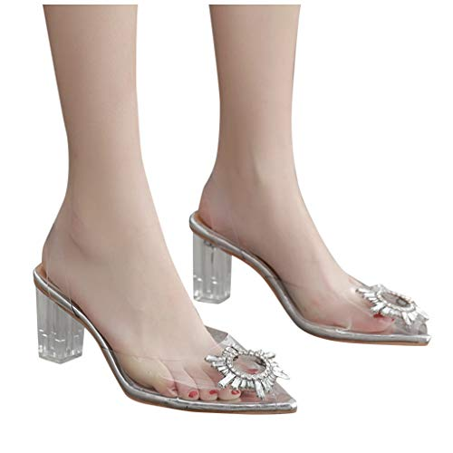 Find Cheap Xinantime Womens Transparent Crystal Shoes Thick High Heel Glass Slipper Shoes Sandals (C...