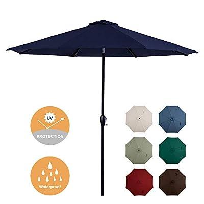 Tempera 10ft Patio Umbrella Outdoor Garden Table Umbrella with Crank and Auto-Tilt Function,8 Steel Ribs in 200G Navy Olefin