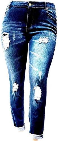 Sneak Peek H Y Women s Plus Size Blue Denim Jeans Ripped Distressed Stretch Pants product image