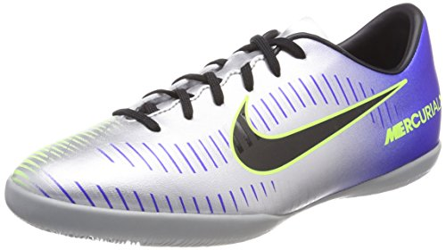 Price comparison product image NIKE Jr MercurialX Victory 6 Neymar JR IC Silver Blue Indoor Soccer Shoes Little Kid Size 10.5c