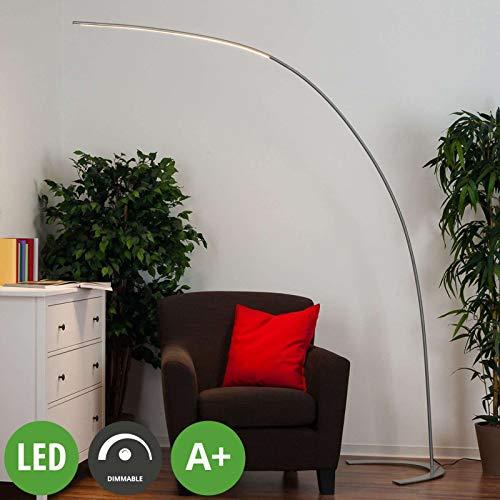 Lindby LED Stehlampe (Bogenleuchte) 'Danua' dimmbar (Modern) in Alu aus Metall u.a. für Wohnzimmer & Esszimmer (1 flammig, A+, inkl. Leuchtmittel) - LED-Stehleuchte, Floor Lamp, Standleuchte