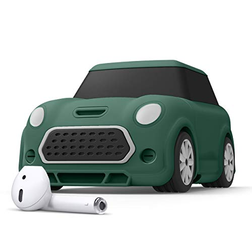 elago Mini CAR AirPods Case with Keychain Designed for AirPods 1 & 2 [Headlights and Taillights Glow in The Dark] [Patent Registered] [Green]