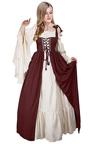 Newcos Boho Renaissance Costume Women Halloween Irish Medieval Dress (S