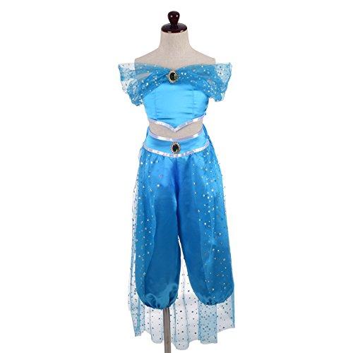 Lito Angels Mädchen Prinzessin Jasmin Kleid Kostüm Geburtstag Weihnachten Halloween Party Verkleidung Karneval Cosplay 5-6 Jahre