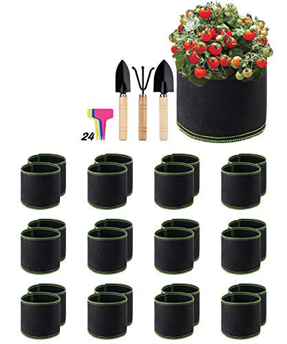 Decorlife 24 Pack 1 Gallon Grow Bags, Non-Woven Aeration Plant Fabric Pots, Easy to Move