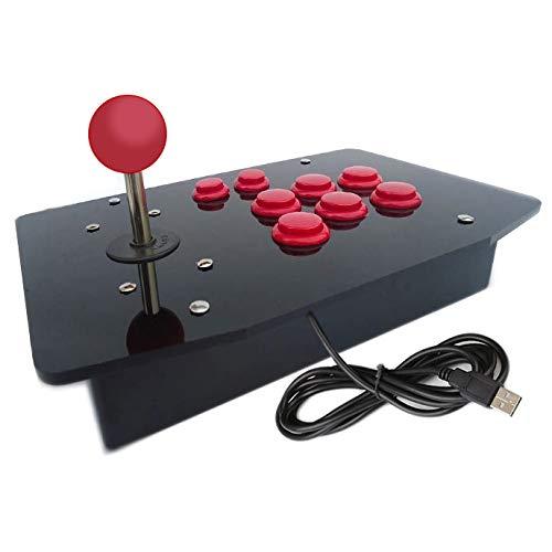 Digitalkey USB Arcade Controller met joystick in kast - Container met 6 30 mm en 2 22 mm knoppen (rode set)