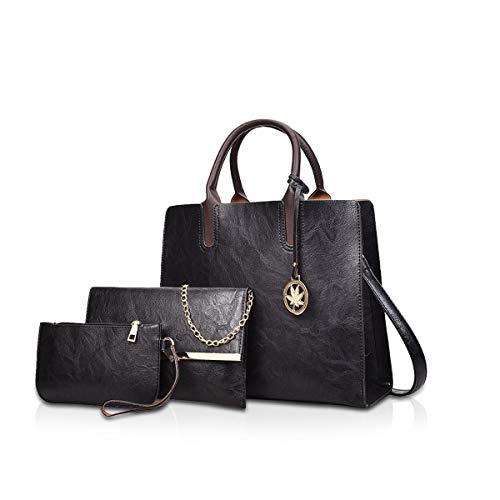 NICOLE & DORIS Damen handtaschen 3 Stück Leder Handtasche für Damen aus Leder Totes + Crossbody + Geldbörse Schwarz