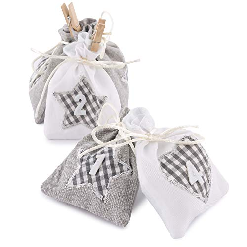 Pajoma - Calendario dell'Avvento da riempire, 24 sacchettini in stoffa con cuoricini con numero a quadretti, colore grigio/bianco