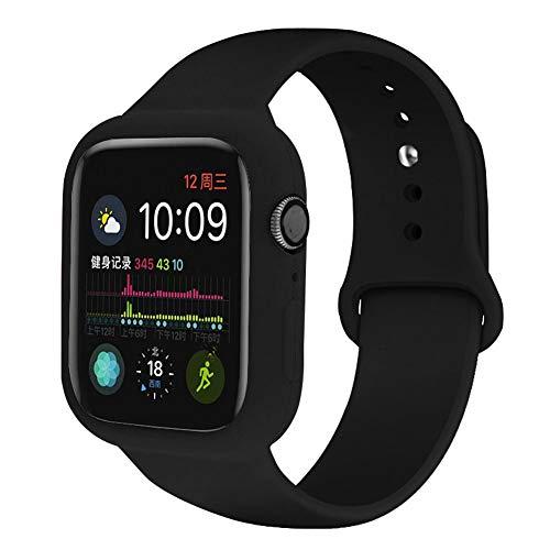 Correa de silicona transpirable de repuesto para Apple Watch, estuche de borde de defensa compatible con Apple Watch de 40/44 mm - Marco de parachoques, compatible con Apple Watch Series 4/5,C,42/44MM