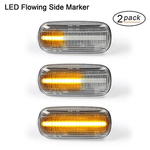 OZ-LAMPE Indicatore laterale 2 X laterali dinamiche a LED ambra 18 SMD con non polarità CAN bus Error Free per chiara per Aud-i A3 S3 8P A4 S4 RS4 B6 B7 A6 S6 RS6 C5 C6 A8 D3 TT Mk2 8J Roadster