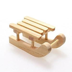 12 Deko Schlitten Holz mini 3,7cm Minischlitten