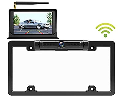 """Calmoor License Plate Wireless Back-up Camera, Universal Wireless Camera, HD 170 Degrees Angle View, IP69K Waterproof Night Vision, with 5"""" Digital Monitor Simple Installation by Calmoor"""