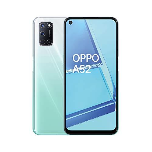 OPPO A52 Smartphone, 192g, Display 6.5  FHD+ LCD, 4 Fotocamere 12MP, RAM 4GB + ROM 64GB Espandibile, Batteria 5000mAh, Ricarica Rapida, Dual Sim, [Versione Italiana], Stream White