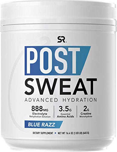 Post Sweat Advanced Hydration Post-Workout Supplement Powder | Recovery Sports Drink with Electrolytes + 9 Essential Amino Acids | Informed Choice Sport Certified, Non-GMO Verified (BlueRazz)