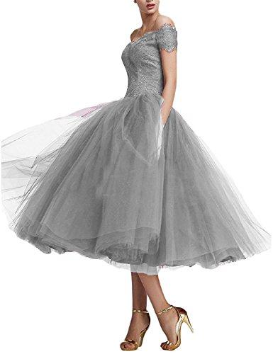 Beyonddress Damen Abendkleider Teelänge Elegant Cocktailkleid Spitze Ballkleider(Silber,44)