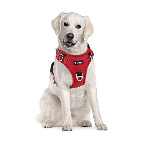 Funfox Hundegeschirr No Pull Pet Harness Verstellbare Hundeweste für einfaches Gehen, Atmungsaktives Oxford-Material, Reflektierende Streifen mit Metall-Front-Clip für Kontrolle Große Rassen Hunde Rot
