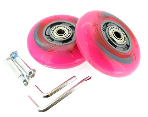 2 Stück Inliner-Rollen LED Licht Leuchtrollen leuchtende Rollen Rollschuhe 80mm Waveboard ABEC 5-7 (Pink)