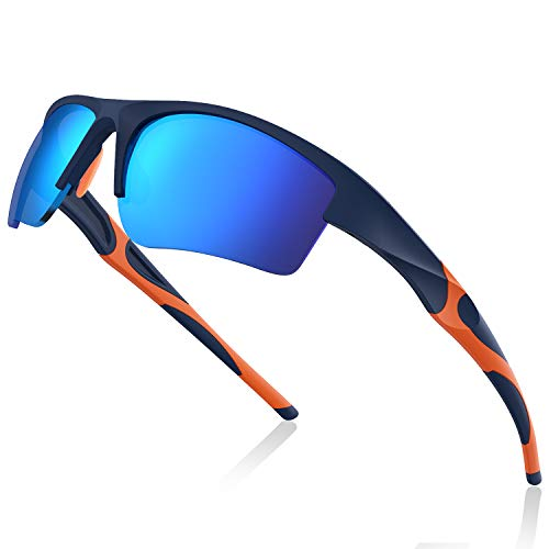 Avoalre Fahrradbrille Sportbrille Winddicht Fahrrad Sonnenbrille Anti UV400 fahradbrille Herren Sonnenbrille Brille Angeln mit Rahmen TR91 Super Light Skibrille Blau