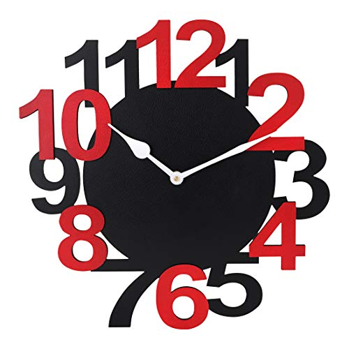 Sehaz Artworks BigNum Manufactured Wood 12 Inch Designer Wall Clock for Home and Kitchen - Black_Red