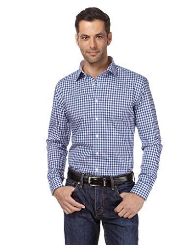Vincenzo Boretti Herren-Hemd bügelfrei 100% Baumwolle Regular-fit kariert New-Kent Kragen - Männer lang-arm Hemden für Anzug Krawatte Business Hochzeit Freizeit blau 45-46