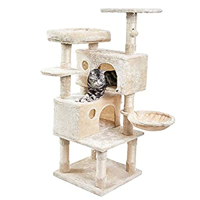 SUPERJARE Cat Tree Condo Furniture with Scratching Posts, Plush Cozy Perch and Dangling Balls, Multi-Level Kitten Tower - Beige