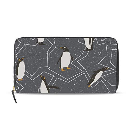 XiangHeFu portefeuille vrouwen portemonnee clutch tas rits pinguïn sneeuw patroon leer