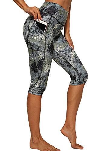 STARBILD Leggings 3/4 Mallas Pantalones de Alta Cintura Elástica Súper Transpirable Adelgazante de Yoga Deportivas Leggins para Mujer Negro-Gris L