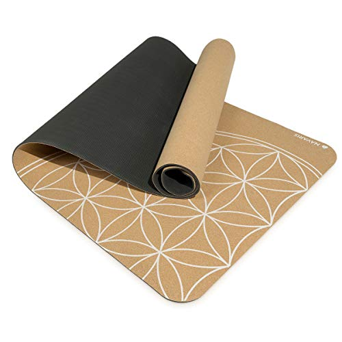 Navaris Esterilla de Yoga de Corcho Antideslizante - Alfombra para Entrenamiento de Gimnasia - Colchoneta de 183x61x0.5CM con diseño de Flor de Vida