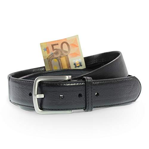 Safekeepers Gürtel mit Geldversteck, Leder Geldgürtel - Geldfach - Gürtel mit Reisverschluss - Moneybelt, Unisex
