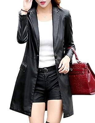 Tanming Womens Casual Lapel Long Leather Jacket Suit Coat Windbreaker Trench Coat (Black, Large)