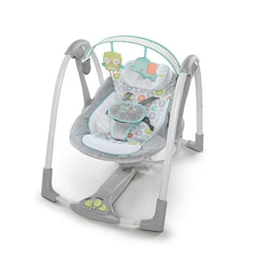 Ingenuity Swing 'n Go Portable Baby Swing - Hugs & Hoots - with Battery-Saving Technology